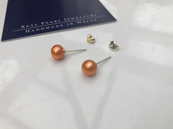 Pearl Stud Earrings: Freshwater bronze shade medium - Precious as a Pearl