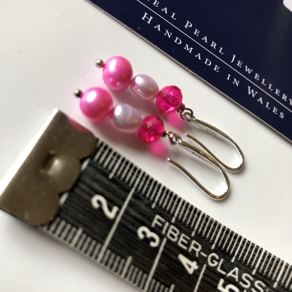 Earrings: Funky pink pearl drop earrings with lilac pearl - Precious as a Pearl