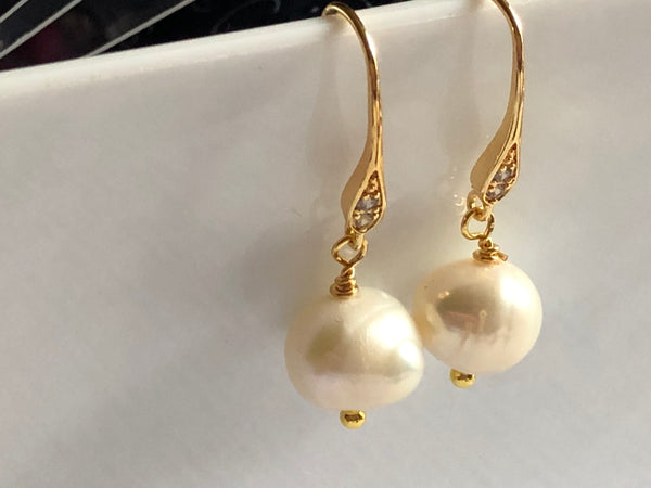 ivory baroque pearl earrings with pretty gold filled hooks