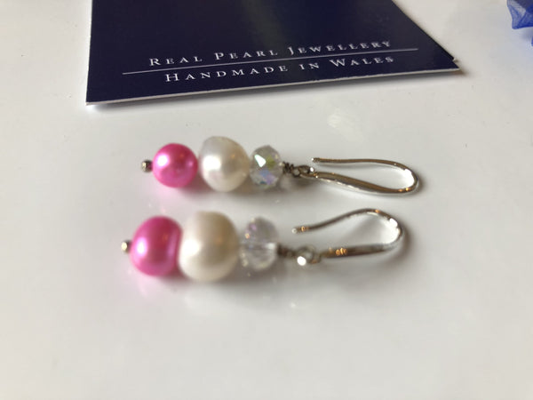 Ivory and pink pearl with white crystal drop earrings