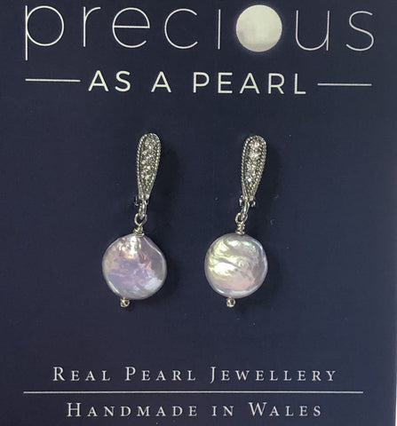 Pink freshwater pearl coin earrings :classic