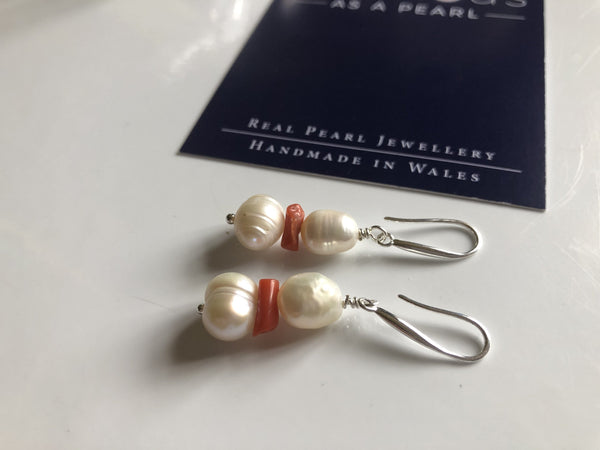 Recycled vintage coral and pearl earrings