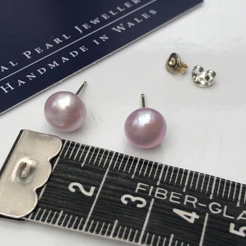 Pearl Stud Earrings: Pale pink large
