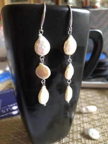 Earrings: Pearl coin earrings ivory long drop classic