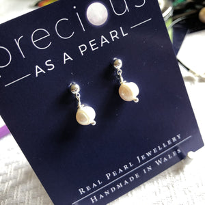 Single ivory pearl drop earrings classic