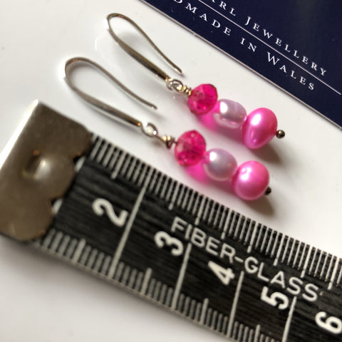 Funky pink pearl drop earrings with lilac pearl