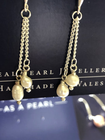 Earrings double chain ivory pearl drops