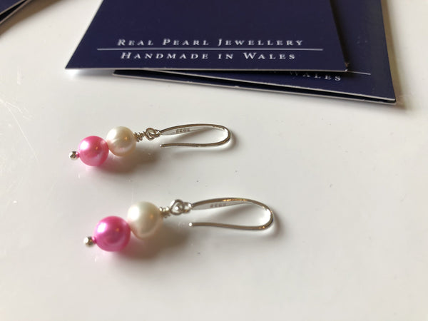 Pink and ivory double pearl earrings