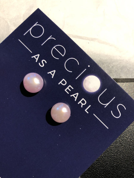 Classic pearl Stud Earrings with sterling silver posts and butterfly backs