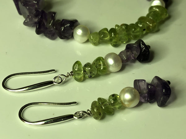 Earrings: Suffragette-inspired Peridot, Pearl and Amethyst drop earrings - Suffragette - Precious as a Pearl
