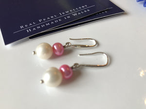 Earrings: Pink and ivory double pearl drop earrings