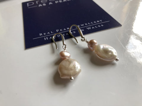 Earrings: Ivory freshwater pearl coin with peach pearl earrings