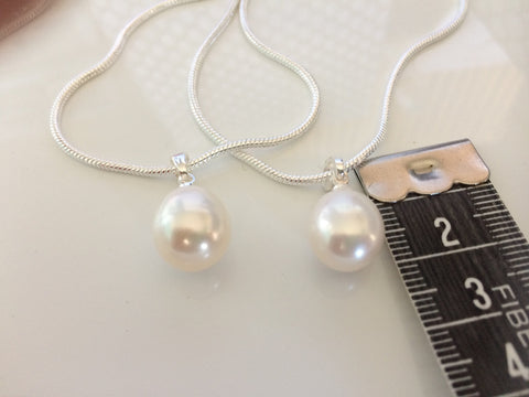 Pendant: Large ivory freshwater drop pearl pendant classic - Precious as a Pearl