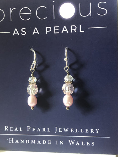 Dainty pearl drop earrings pink