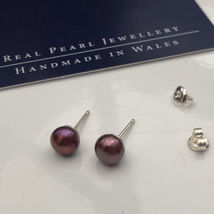 Dusky pink freshwater pearl studs - medium 6mm diameter