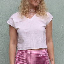 VINTAGE | White Cotton Button Back Crop Top (XS-S)