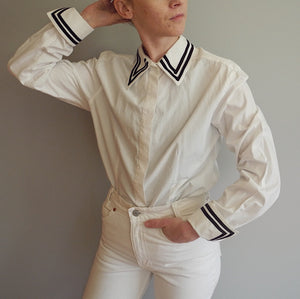 VINTAGE | Giorgio Sant'Angelo Button Front Oxford with Trimming - White (XS-L)