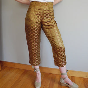 VINTAGE | Asian-Inspired Cropped Silk Pants - Gold (M/L)