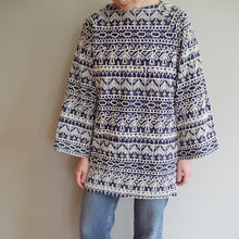 VINTAGE | Embroidered Tunic with Bell Sleeves -  Blue & White (S-M)