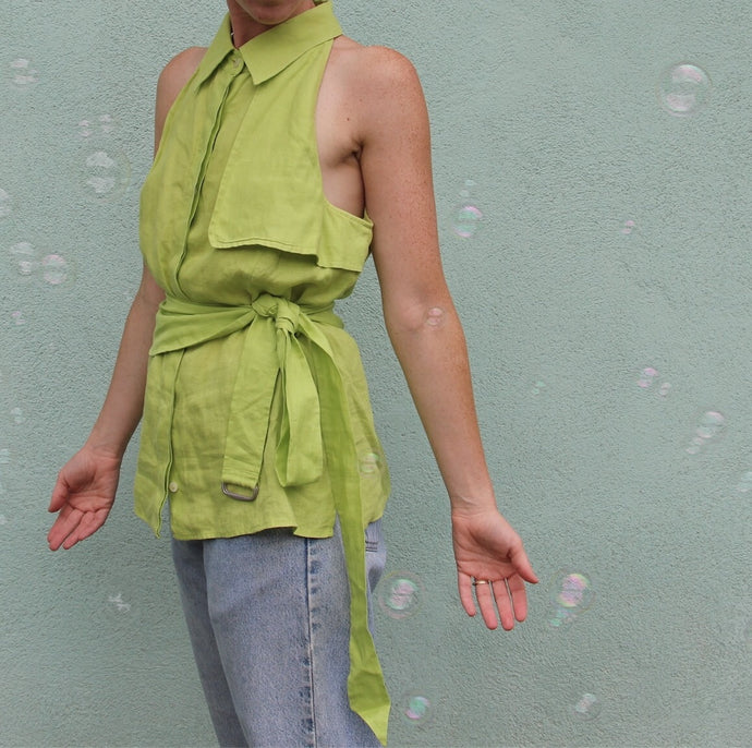 VINTAGE | MaxMara Linen Top w/ Belt - Lime Green (XS-M)