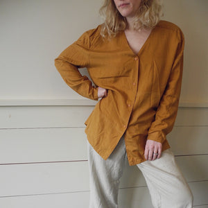 VINTAGE | Giorgio Sant'Angelo Silk Button Front Blouse - Burnt Umber (XS-L)