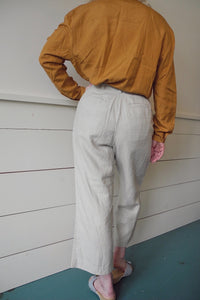 VINTAGE | Gap Linen High Waisted Cropped Trousers - Khaki (28)