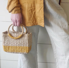 VINTAGE | Nine West Wicker Circle Handle Purse - Natural/Gold