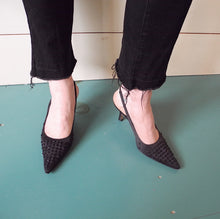VINTAGE | Nine Satin Beaded Slingback Pump - Black (6.5)