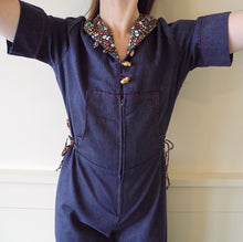 VINTAGE | 70's Bell Bottom Cinch Waist Hooded Jumpsuit - Indigo/Floral Accents  (XS-M)