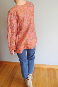 VINTAGE | Silk Embroidered Tunic Blouse - Pink/Orange/Multi (XS-M)