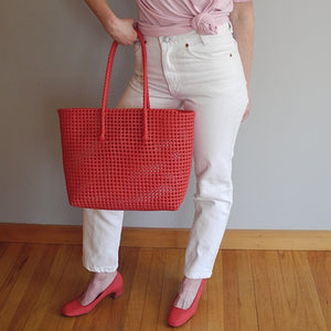 VINTAGE | Plastic Woven Tote - Red