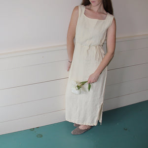 VINTAGE | Linen Cinch Waist Sack Dress - Pale Yellow (XS-M)