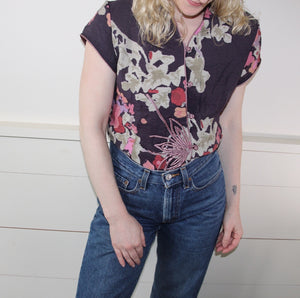 VINTAGE | Silk Floral Asian Blouse - Purple (S-M)