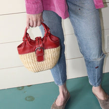 VINTAGE | Sun 'n' Sand Straw and Leather Purse - Natural/red