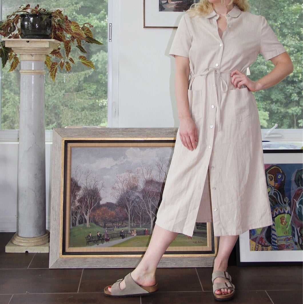 VINTAGE | Linen Button Front Market Dress - Oatmeal (XS-M)