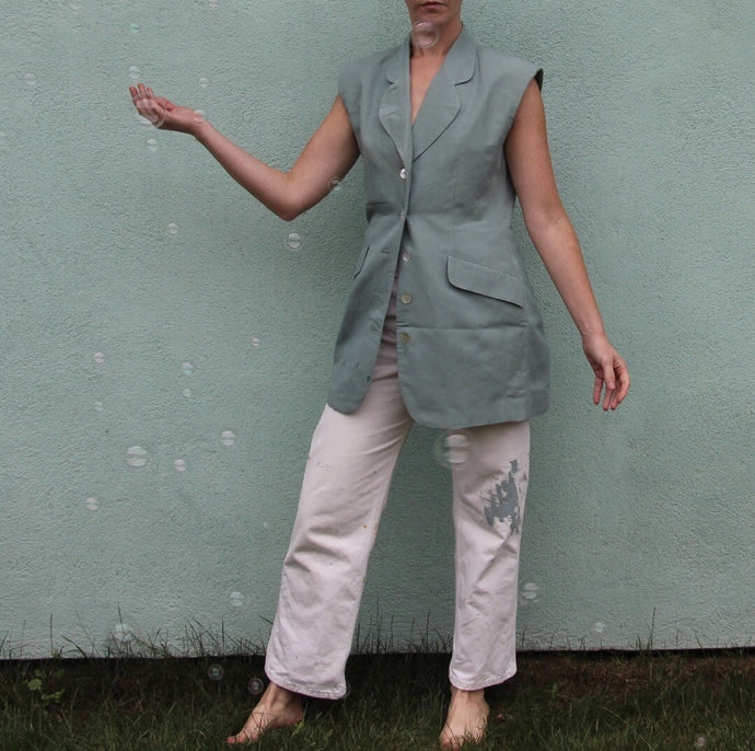 VINTAGE | The Limited Linen Button Front Vest/Top - Teal (XS-M)