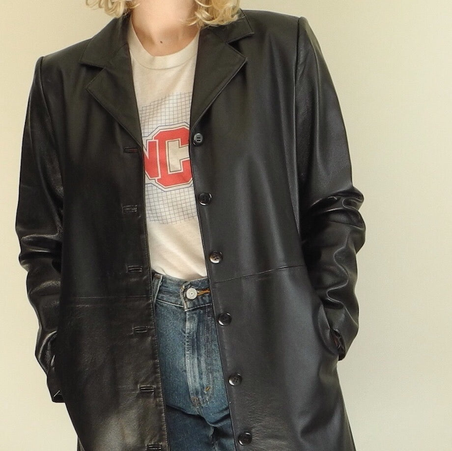 VINTAGE | CLIO 3/4 Length Leather Jacket - Black (4)