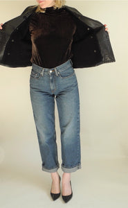 VINTAGE | Ann Taylor Boxy Double Breasted Leather Jacket - Black (M)