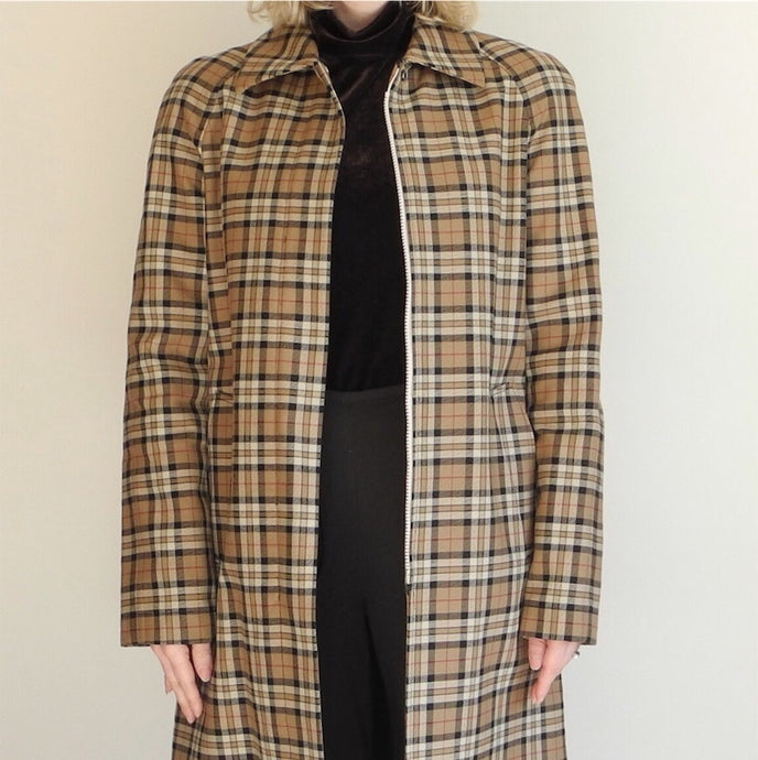 VINTAGE | Express Plaid 3/4 Length Jacket - Burberry Plaid Tartan (S/M)