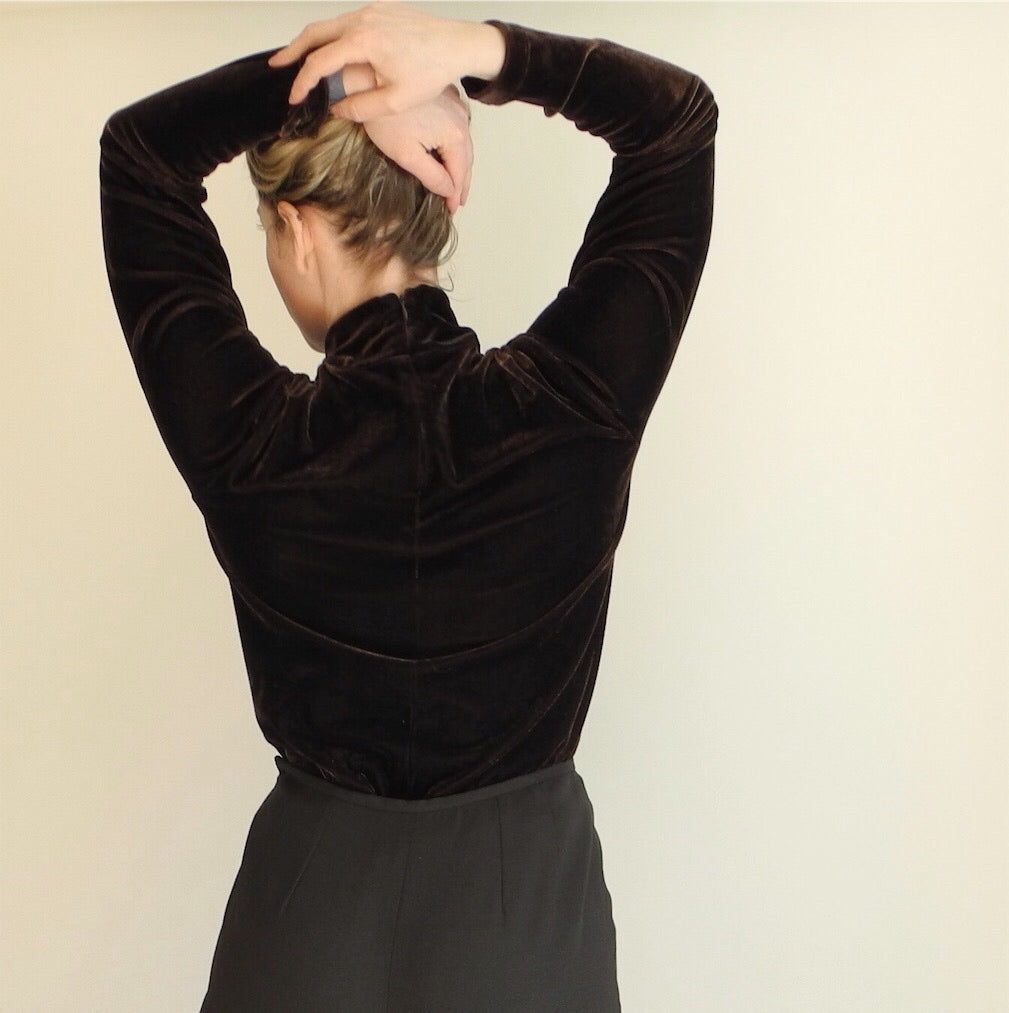 VINTAGE | Velvet Turtleneck Top - Brown (XS-M)