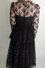 VINTAGE | 60's Tiered Lace and Sequin Gown - Black (Size 2)