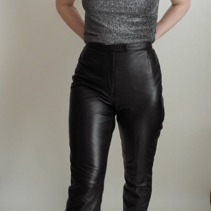 VINTAGE | Leather High Waisted Straight Leg Pants - Black (4/6)