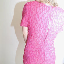 VINTAGE | 80's Beaded Cocktail Dress - Fuschia (Size 6)