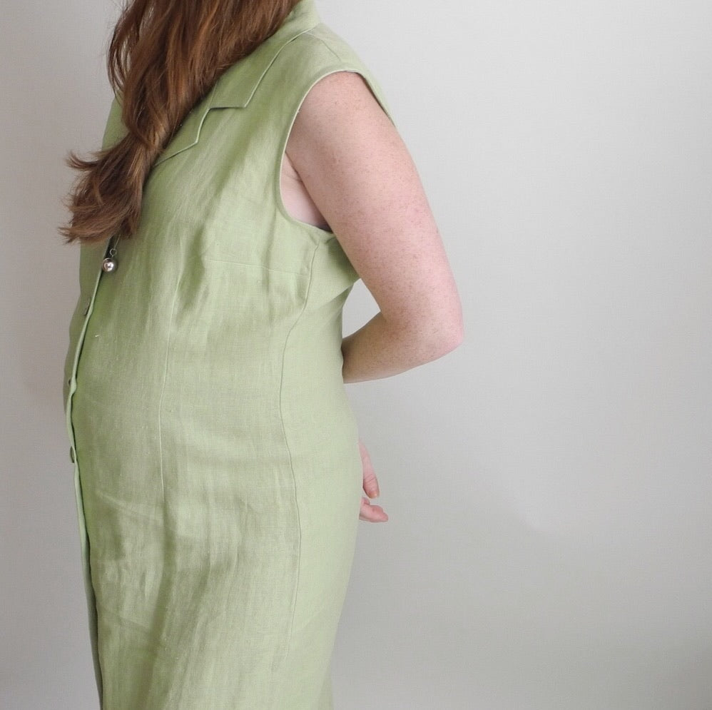 VINTAGE | Versatile Linen Button Front Dress - Lime (M-XL)