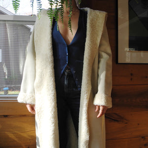 VINTAGE | Faux Shearling Full Length Coat with Hood- Cream (S-L)