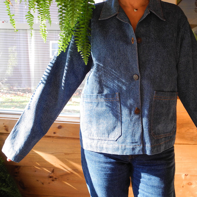 VINTAGE | Boxy Denim Jacket w/ Levis Buttons - Blue (M)