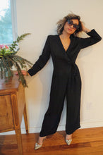 VINTAGE | Wrap Top Jumpsuit - Black (S/M)