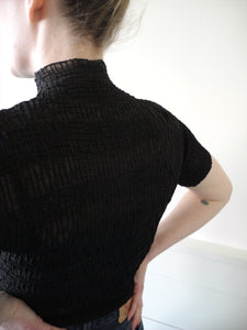 VINTAGE | Sheer Silk Striped Turtleneck Top - Black (XS-M)