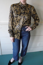 VINTAGE | Escada Silk Leopard Print Asymmetrical Collar Blouse - Gold/Black (XS-L)