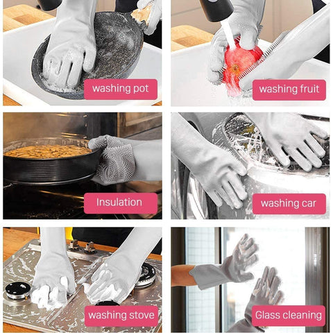 Reusable Silicon Dishwashing Gloves